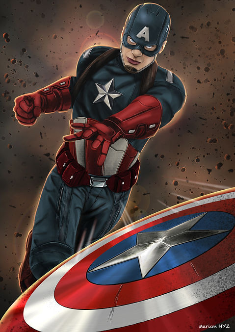 Captain America, illustration, digitalpainting
