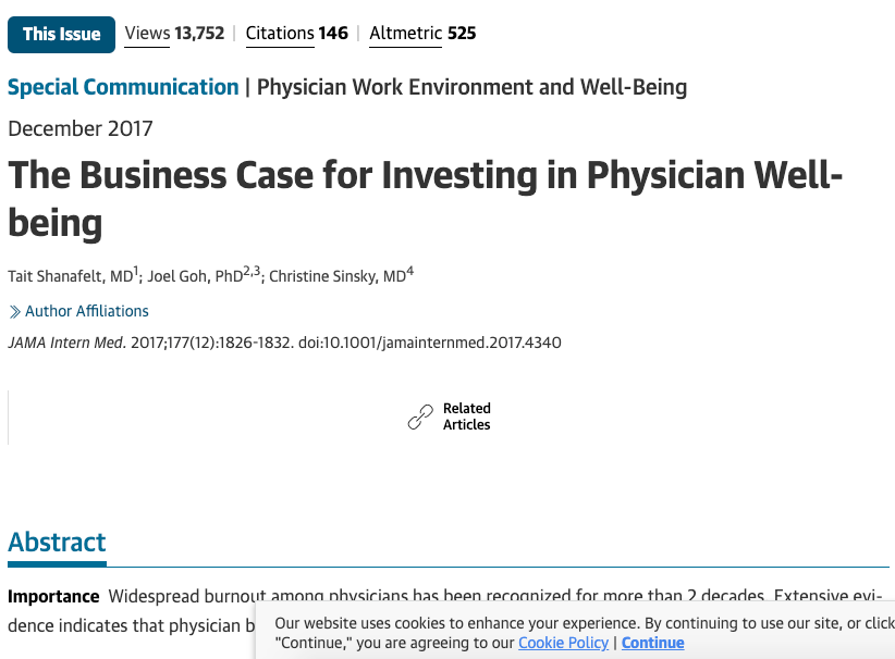 JAMA Dec 17 Business case for physician wellness