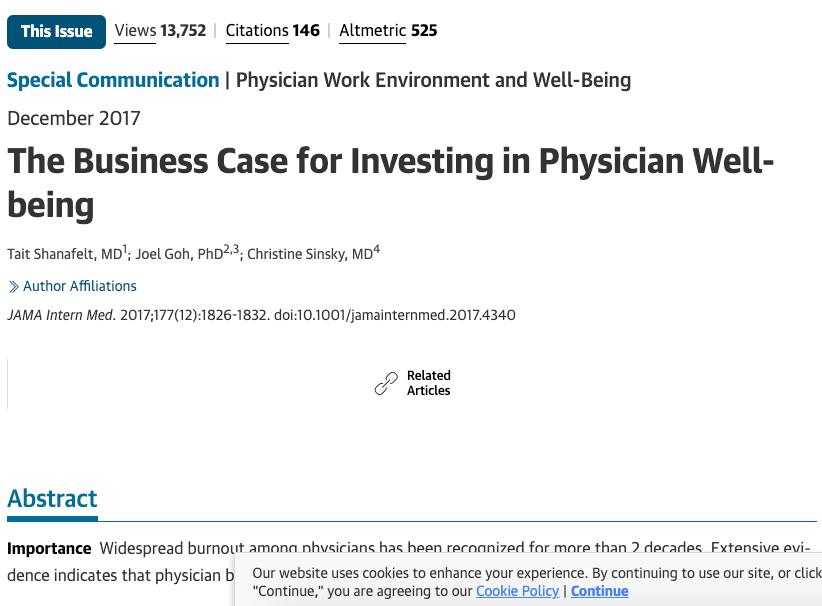 JAMA Dec 17 Business case for physician wellness