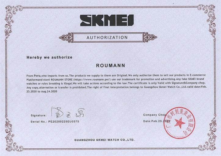 Certificado de atenticidad Skmei