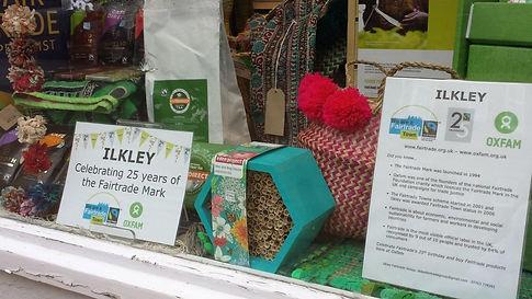 Ilkley Oxfam shop window for Fairtrade's