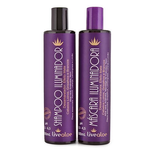Kit Iluminador Shampoo e Máscara Iluminadora Aloe Vera LiveAloe