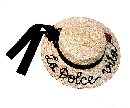La Dolce Vita  (Long Tail Bow) Boater Hat