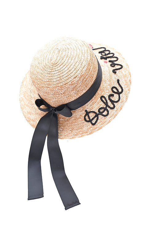 Dolce Vita  (Long Tail Bow) Boater Hat