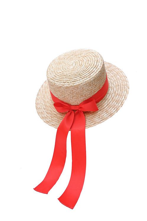 Classic Boater Hat (Red)