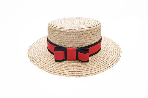 Dual Ribbon Boater Hat