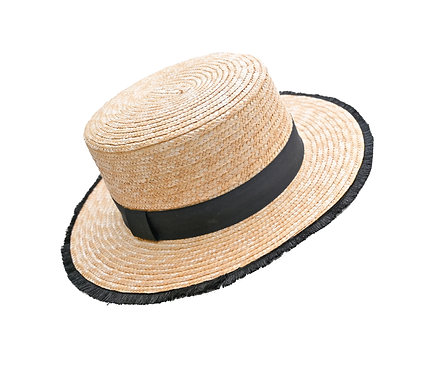 Boater Hat with Black Trim