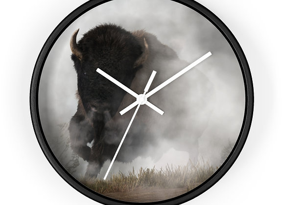 Bison in the Fog - Wall Clock
