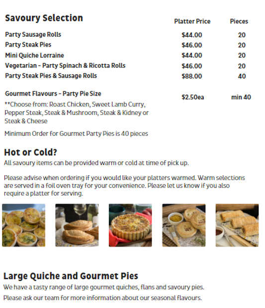 Party Pie Savoury Catering Menu Miami Bakehouse