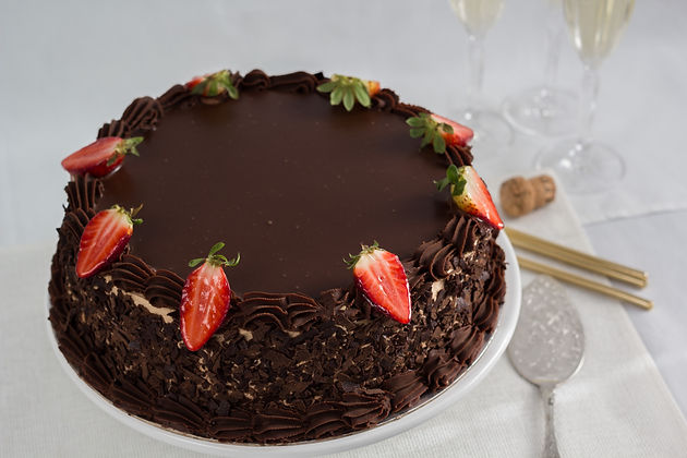 Order Custom Birthday Cake Mandurah Melville Pinjarra Myalup Falcon Black Ganache Torte Cake with Strawberries