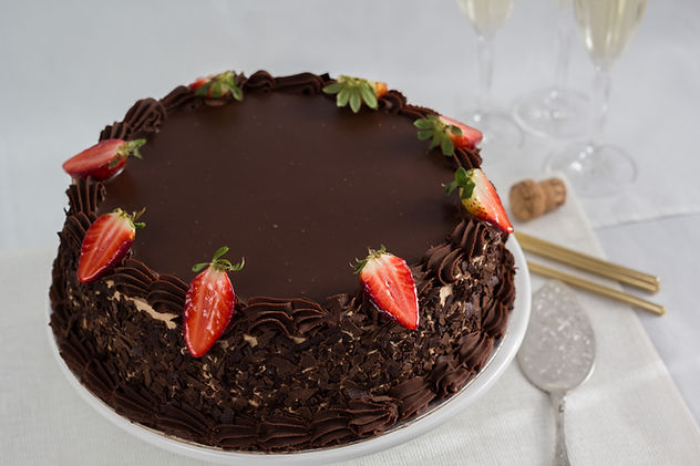 Bakery Cake Maker Order Custom Birthday Cake Mandurah Melville Pinjarra Myalup Falcon Black Ganache Torte Cake with Strawberries