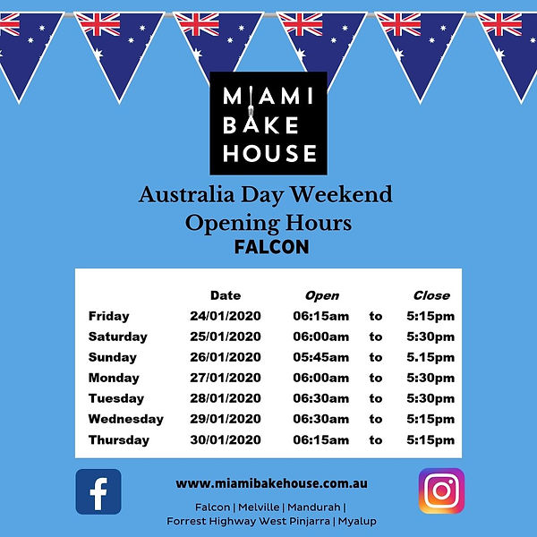Falcon Opening Hours Australia Day