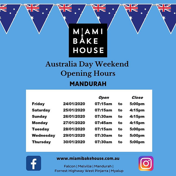 Miami Bakehouse Opening Hours Falcon Australia Day