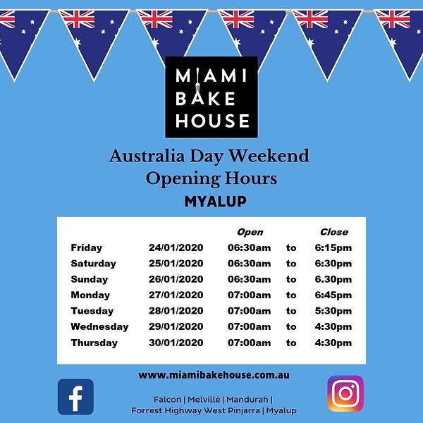 Miami Bakehouse Myalup Opening Hours Australia Day