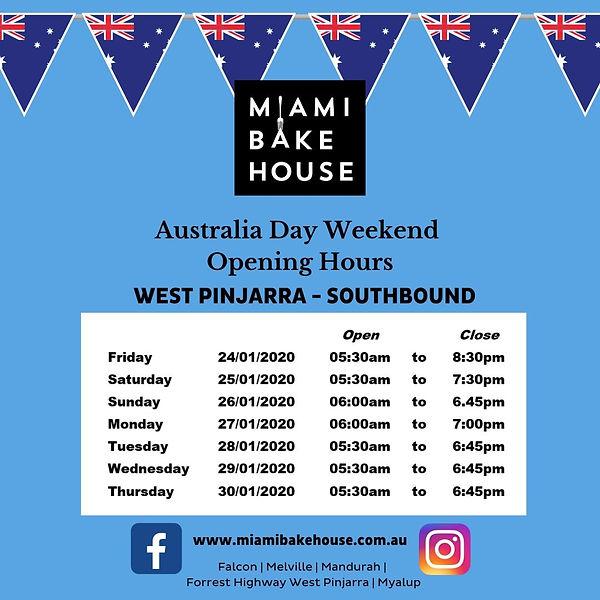 Pinjarra Miami Bakehouse Australia Day