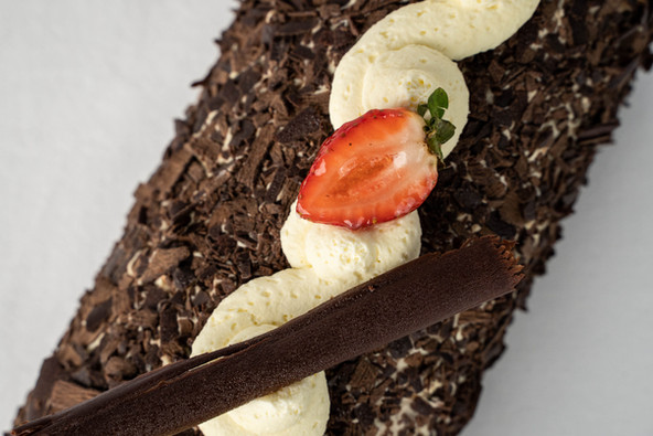 Chocolate and Strawberry Roulade Cake