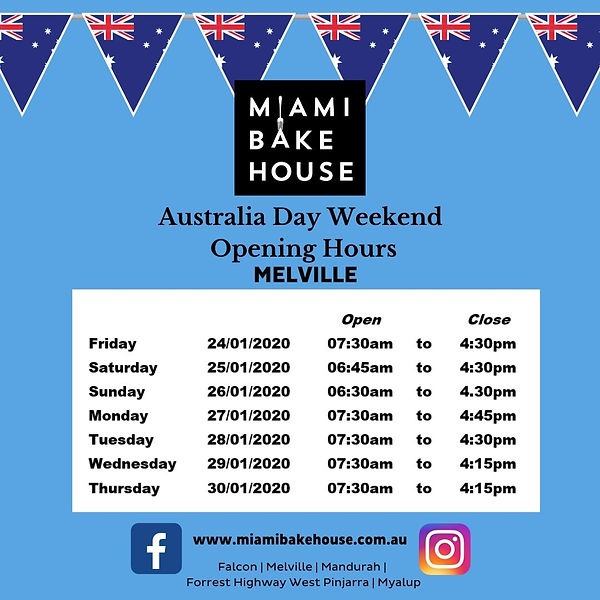 Opening Hours Australia Day Melville
