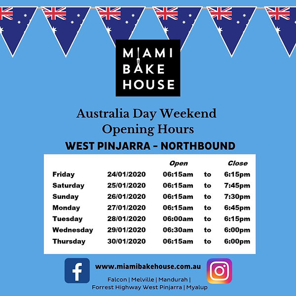 West Pinjarra Opening Hours Australia Day