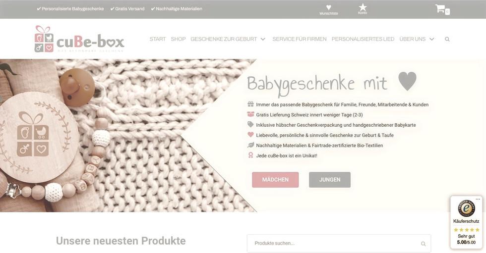 CubeBox Online Shop Erstellung