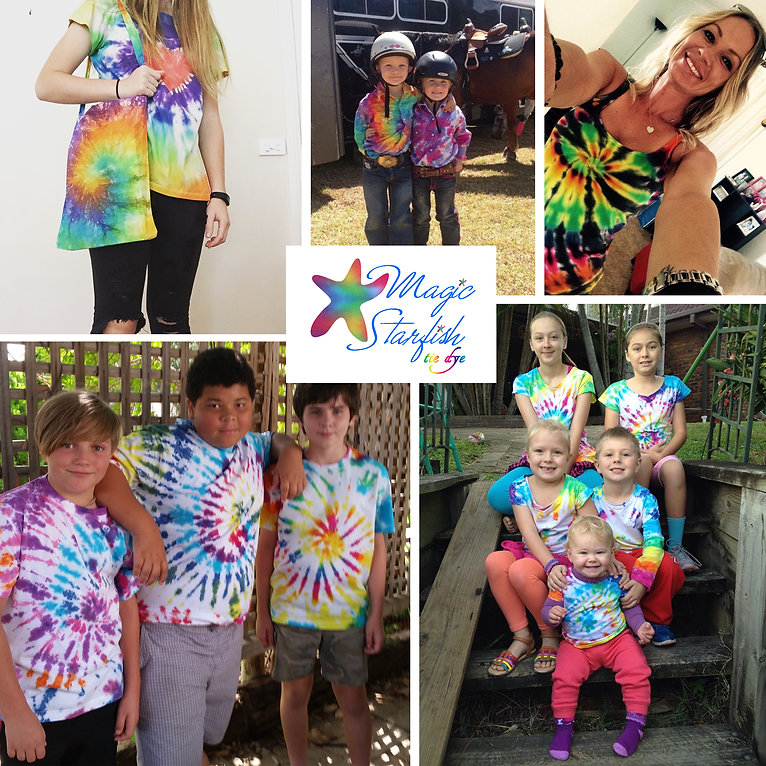 Tie Dye clothing made using Magic Starfish tie dye kits