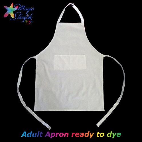 White Adult Apron (ready to  Tie Dye)