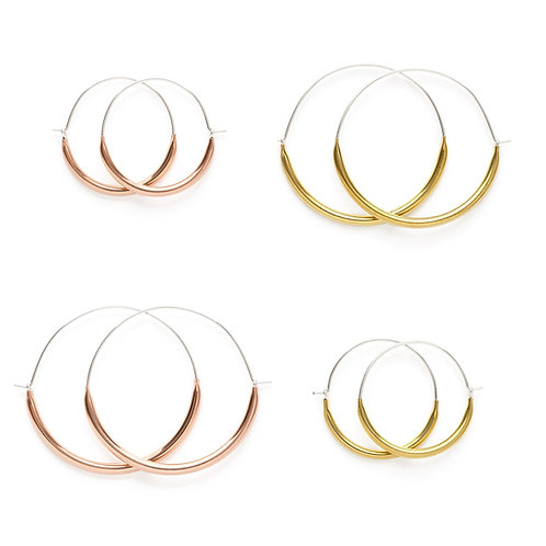 Tubular Hoop Earrings, Brass or Rose Gold