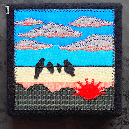 Fabric Art: Birds on a Wire