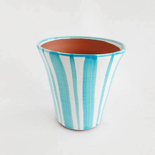 """Turquoise Striped 6"""" Planter"""