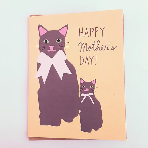 Happy Mother's Day cats on yellow