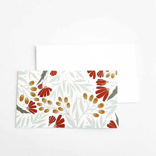 Mini Note Cards, Red Flowers/Olive