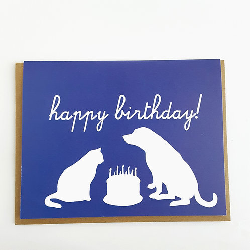 Happy Birthday dog & cat silhouettes on blue