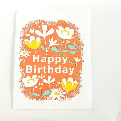 Orange Floral Birthday