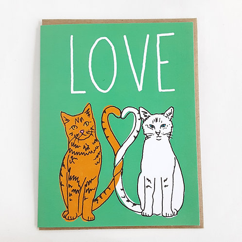LOVE cats on green