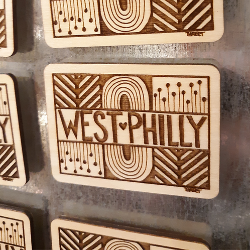 WEST PHILLY Wood Magnet