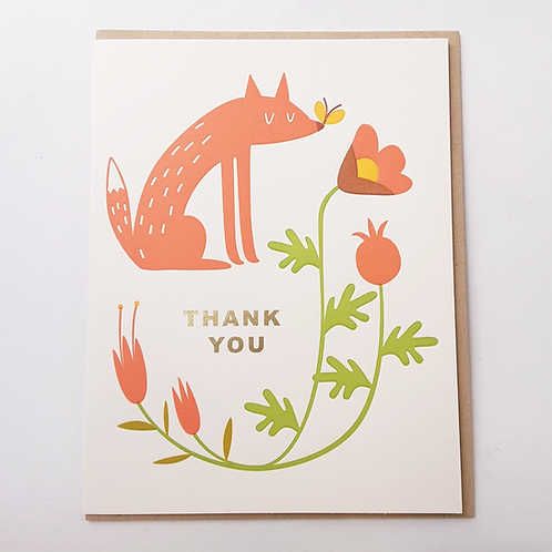 Thank You fox & flowers