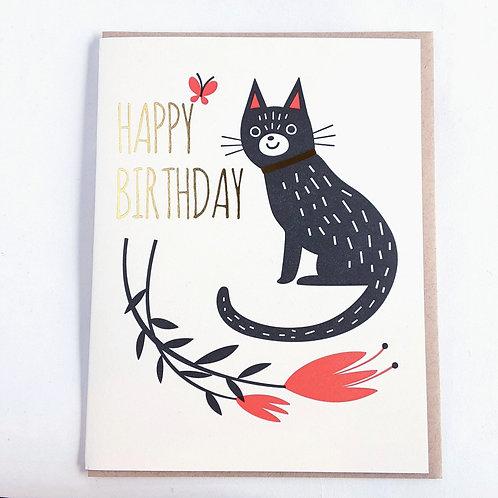 Birthday black cat, red flower