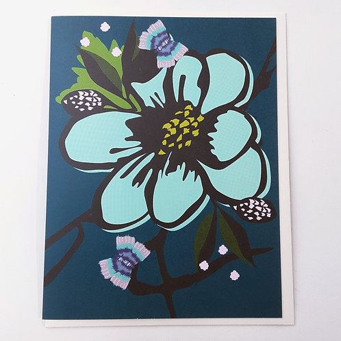 Turquoise Flower on Navy