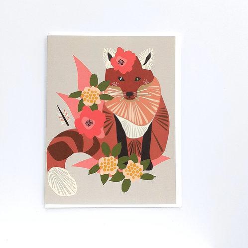 Fox & Flowers on Gray (EG)