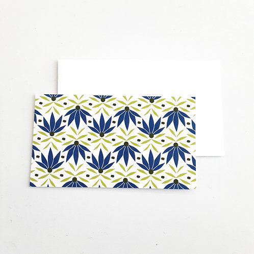 Mini Note Cards, Blue Pointy Floral