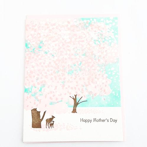 Happy Mother's Day deer & pink trees