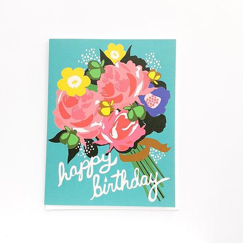 Birthday floral on blue (EG)