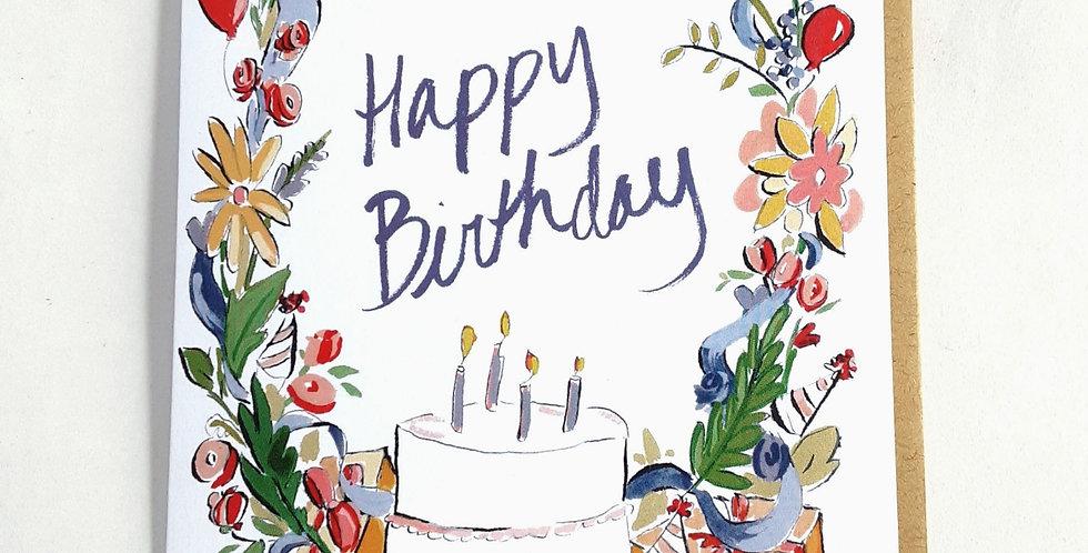 Birthday cake & flowers