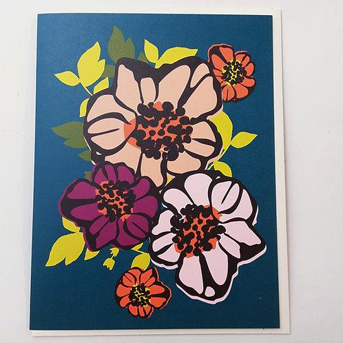Floral on Teal