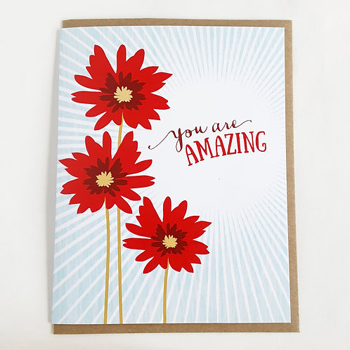 You Are Amazing red floral