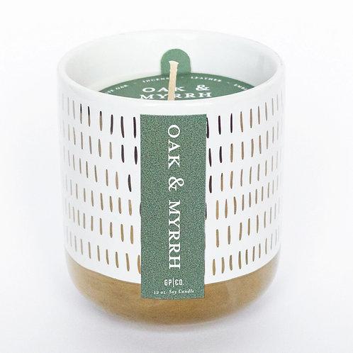 White & Gold Ceramic Candle