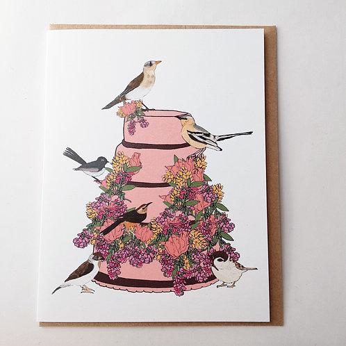 Birds on Pink Cake