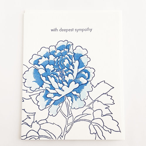 With Deepest Sympathy blue peony