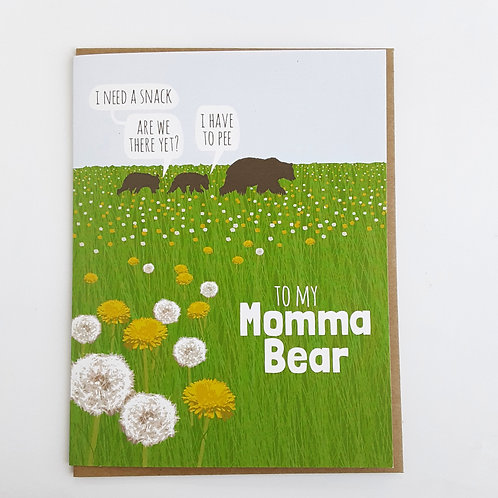 """Grassy meadow w. dandelions, bear w. cubs in background, cubs say """"I need a snack"""", """"are we there yet?"""" """"I have to pee"""""""