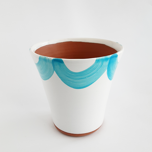 "Turquoise Scalloped 6"" Planter"