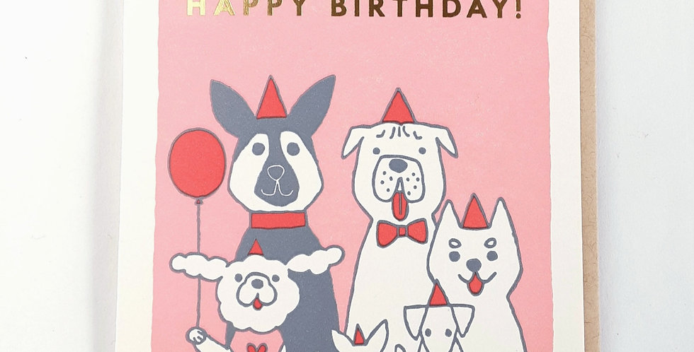 Birthday, Dogs in Red Hats